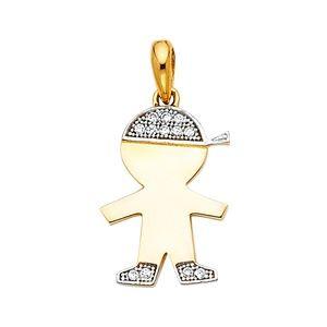 14K Yellow Gold CZ Boy Pendant